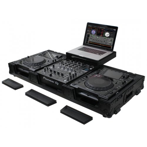 Odyssey Black Label Low Profile Glide Style DJ Coffin (2 Lrg CD + 12in Mixer)